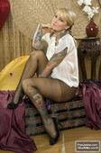 Janine Lindemulder Black Stockings Pantys